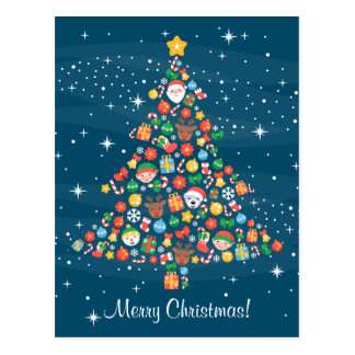 Cheerful Christmas Tree Pattern on Blue Postcard