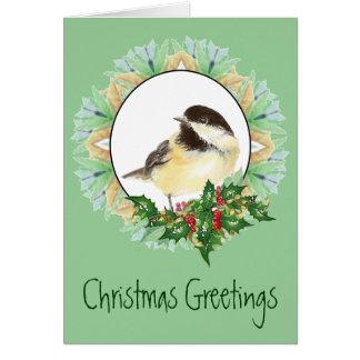 Cheerful Christmas Watercolor Chickadee Bird Holly Card
