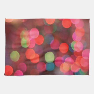 Cheerful Colorful Bokeh Christmas Holiday Lights Kitchen Towel