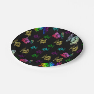 cheerful colorful painted fish lovely pattern 7 inch paper plate