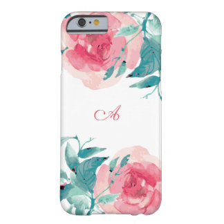 Cheerful Coral & Aqua Watercolor Rose Barely There iPhone 6 Case
