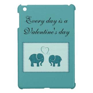 Cheerful cute elephants in love patchwork iPad mini cover