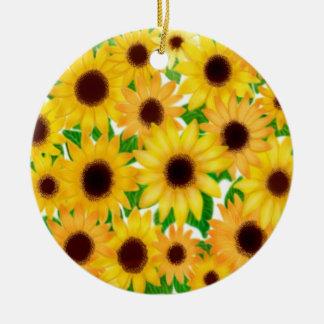 Cheerful European Sunflowers Ornament