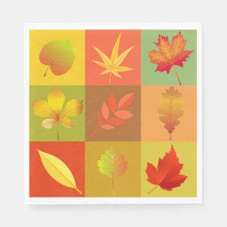 Cheerful Fall Foliage Colorful Buffalo Check Paper Napkins