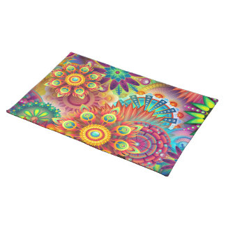 CHEERFUL FLORAL ABSTRACT  DESIGN FOR SUMMER PARTY PLACEMAT
