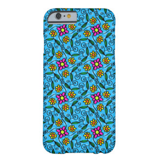 Cheerful Flowers on Blue Barely There iPhone 6 Case