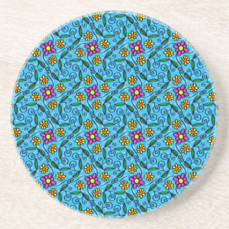 Cheerful Flowers on Blue Beverage Coasters