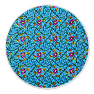 Cheerful Flowers on Blue Ceramic Knob