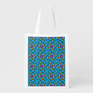 Cheerful Flowers on Blue Reusable Grocery Bag