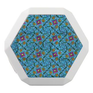 Cheerful Flowers on Blue White Bluetooth Speaker