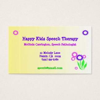 Cheerful Flowers Speech Therapy Business Card