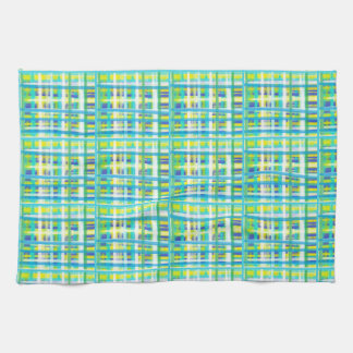 Cheerful FreeStyle Green and Blue Plaid Towel