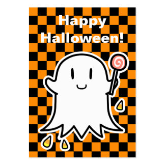 Cheerful Ghost Halloween card (edit your message) Large Business Card