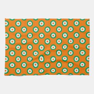 Cheerful Green/White/Orange Dots on Orange Kitchen Towel