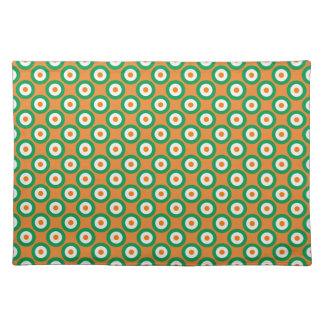 Cheerful Green/White/Orange Dots on Orange Placemat
