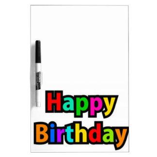 Cheerful Happy Birthday Text Dry Erase Board