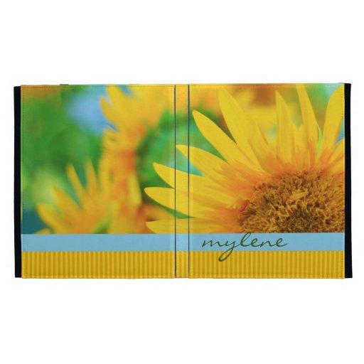 Cheerful Happy Yellow Sunflower Blue Orange Stripe iPad Case