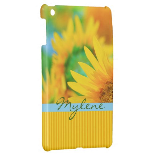 Cheerful Happy Yellow Sunflower Blue Orange Stripe iPad Mini Cases