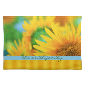 Cheerful Happy Yellow Sunflower Blue Orange Stripe Placemat