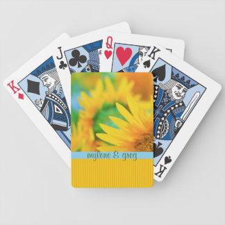 Cheerful Happy Yellow Sunflower Blue Orange Stripe Poker Deck