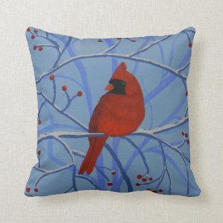 Cheerful heart Cardinal Throw Pillow