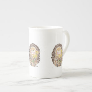 Cheerful hedgehog bone China mug
