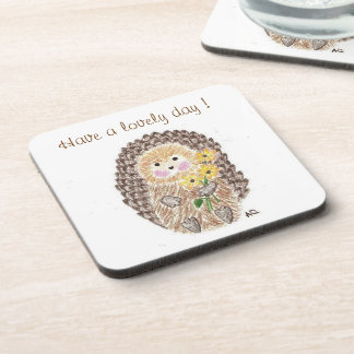 Cheerful hedgehog square coasters