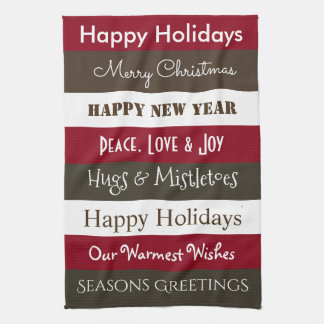 Cheerful Holiday Greetings Kitchen Kitchen Towel