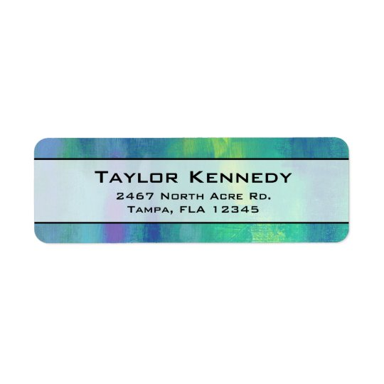Cheerful Impressionist Abstract in Green and Blue Return Address Label