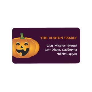 Cheerful jolly pumpkin custom Halloween address Label