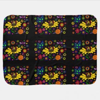 Cheerful Ladybugs and Flowers Art Stroller Blanket