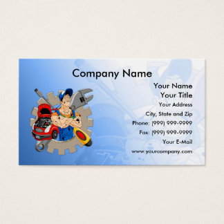 Cheerful Mechanic Business Card