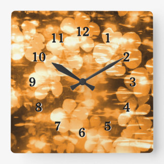 Cheerful Orange Bright Harmony Floral Creation Clock
