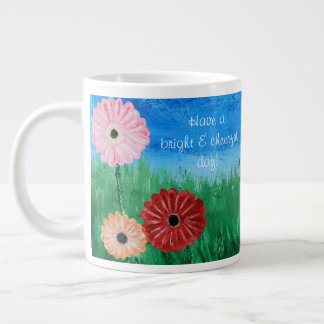 Cheerful Painted Flowers Jumbo Mug