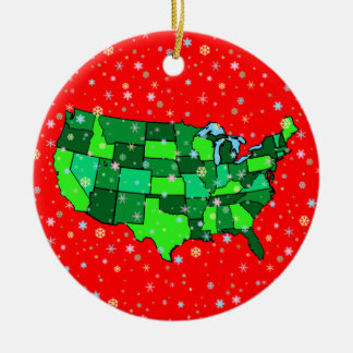 Cheerful Pastel Snowflakes and United States Map Ceramic Ornament