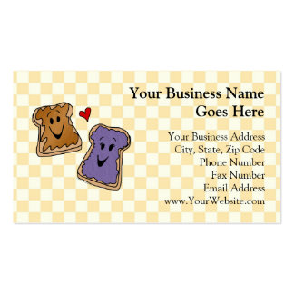 Cheerful Peanut Butter and Jelly Cartoon Friends Business Card