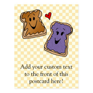 Cheerful Peanut Butter and Jelly Cartoon Friends Postcard