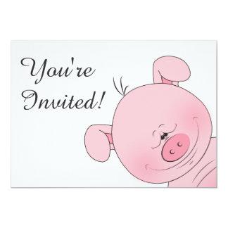"Cheerful Pink Pig Cartoon 5"" X 7"" Invitation Card"
