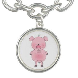 Cheerful Pink Pig Cartoon Charm Bracelets