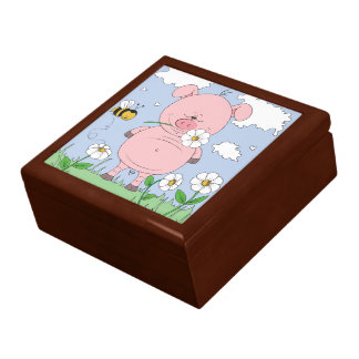 Cheerful Pink Pig Cartoon Gift Box
