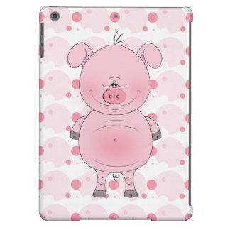 Cheerful Pink Pig Cartoon iPad Air Covers