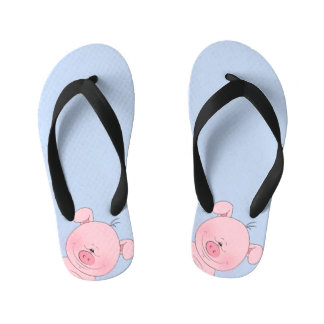 Cheerful Pink Pig Cartoon Kid's Flip Flops