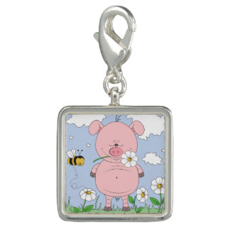 Cheerful Pink Pig Cartoon Photo Charm