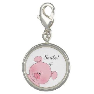 Cheerful Pink Pig Cartoon Photo Charms