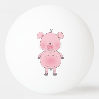 Cheerful Pink Pig Cartoon Ping Pong Ball