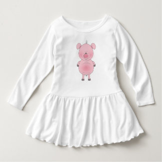 Cheerful Pink Pig Cartoon Ruffle Dress Tshirts