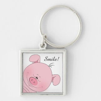 Cheerful Pink Pig Cartoon Silver-Colored Square Keychain