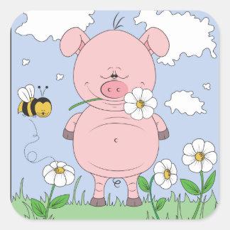 Cheerful Pink Pig Cartoon Square Sticker