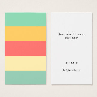 Cheerful Pink Yellow Green Blue Stripes Business Card