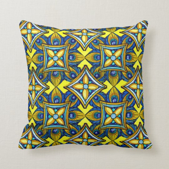 Cheerful Pottery Pattern Throw Pillow
